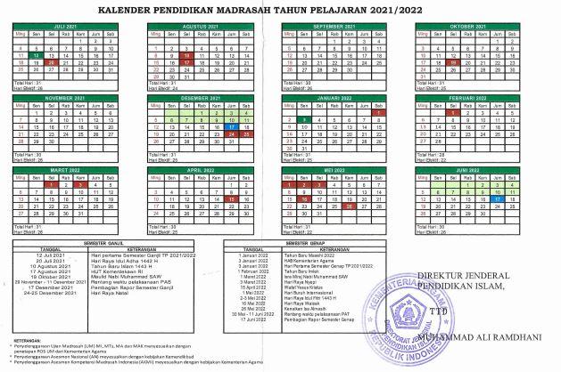 Kalender Pendidikan (Kaldik) Madrasah 2021/2022 Dirjen Pendis